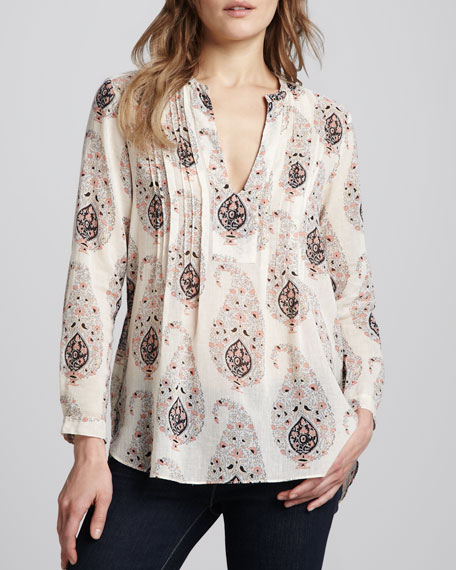 Printed Pintucked Voile Top