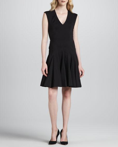 Sleeveless Godet-Skirt Dress