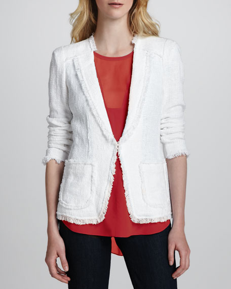 Fringe-Trim Tweed Jacket