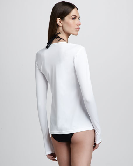 Long-Sleeve Swim Tee, White