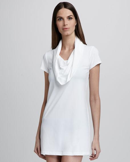 Hooded Cowl-Neck Dress, White