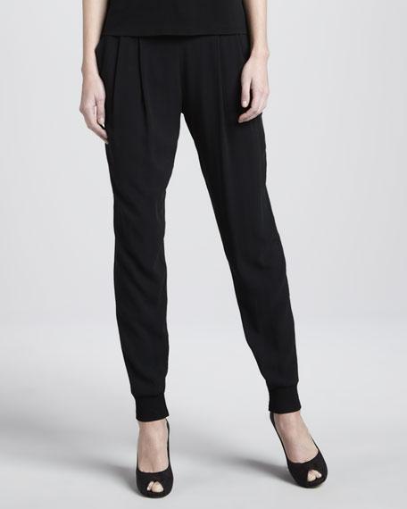 Cuffed Silk Georgette Ankle Pants
