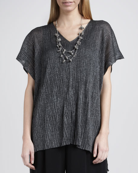 Linear Crinkle V-Neck Tunic, Women's