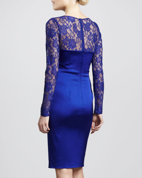 Lace Sweetheart-Neck Illusion Dress