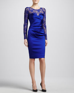 David Meister Lace Sweetheart-Neck Illusion Dress