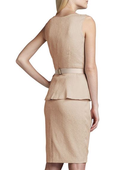 Sleeveless Belted Jacquard Peplum Dress