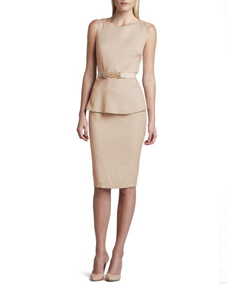Sleeveless Belted Jacquard Peplum Dress