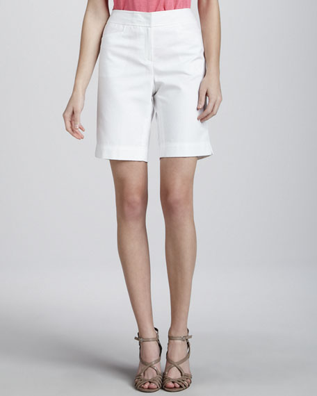 Metro Stretch Bermuda Shorts, White