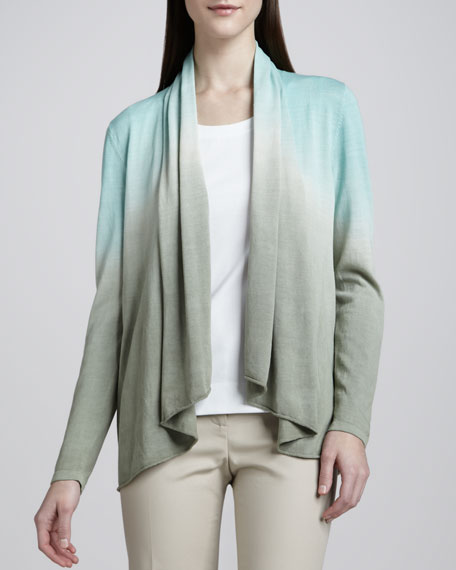 Dip-Dyed Shawl Collar Cardigan
