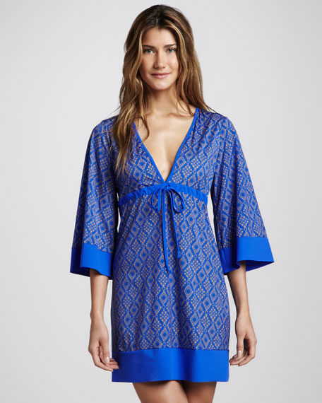 Stephanie Crochet-Print Shortie Caftan Coverup