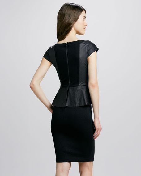 Victoria Leather-Top Peplum Dress