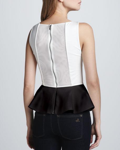 Sleeveless Peplum Top, White/Black