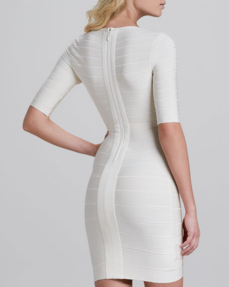 V-Neck Half-Sleeve Bandage Dress