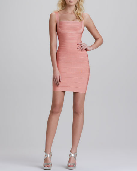 Sleeveless Square-Neck Bandage Dress