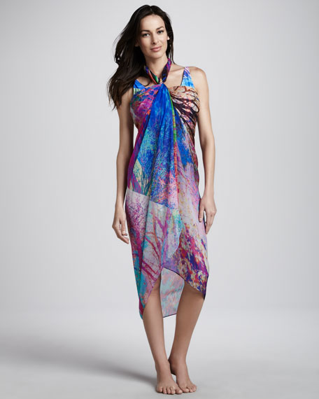 Tropical Paint Pareo Coverup