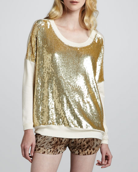 Sequined Knit-Sleeve Pullover