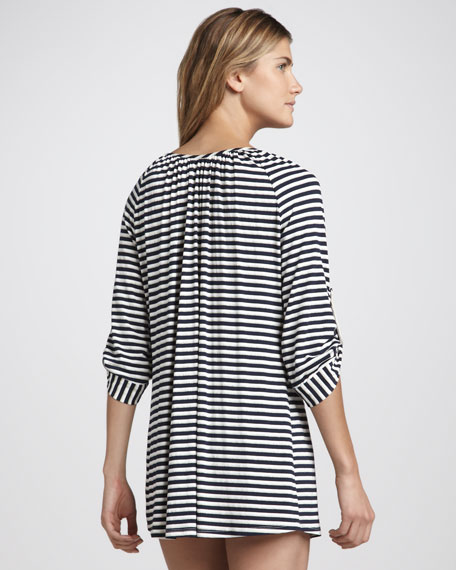 Shimmery Striped Jersey Tunic Coverup
