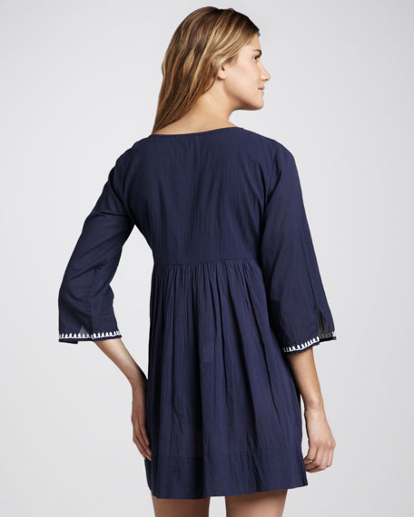 Embroidered Voile Babydoll Coverup