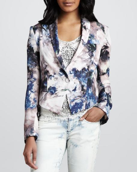 Cropped Floral-Print Blazer