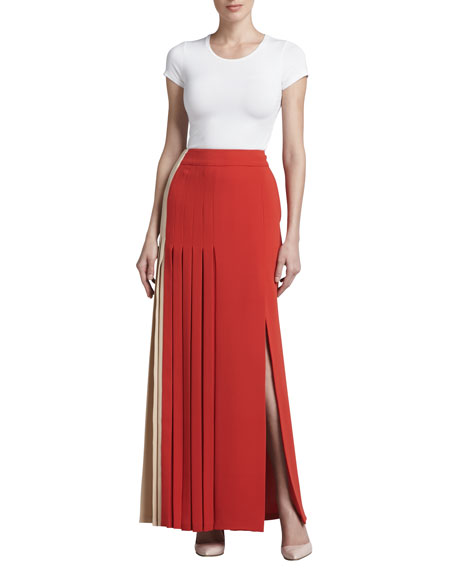 Colorblock Pleated Crepe Skirt, Sand/Poppy