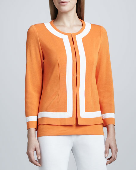 Natasha Colorblock-Trim Boxy Jacket