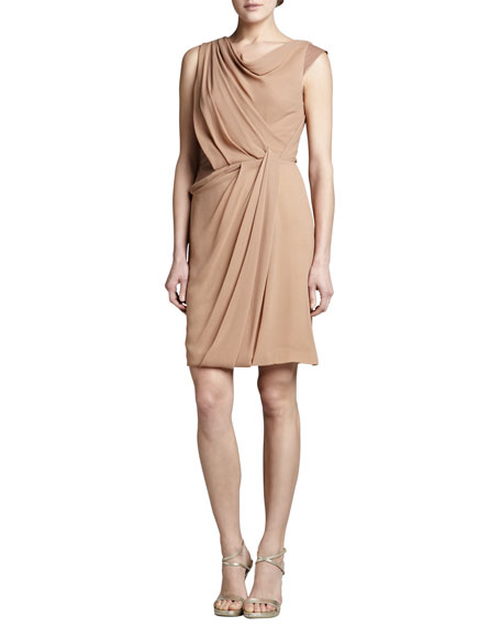J. Mendel Leather-Insert Georgette Dress