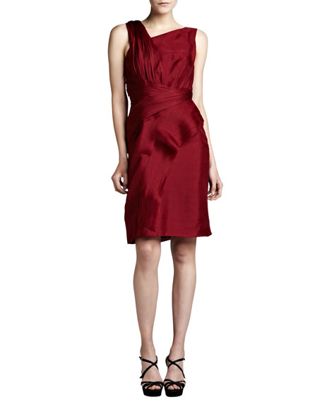 J. Mendel Asymmetric Raw-Edge Organza Dress