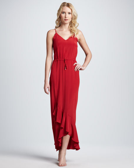 Lana Ruffle-Hem Maxi Coverup Dress