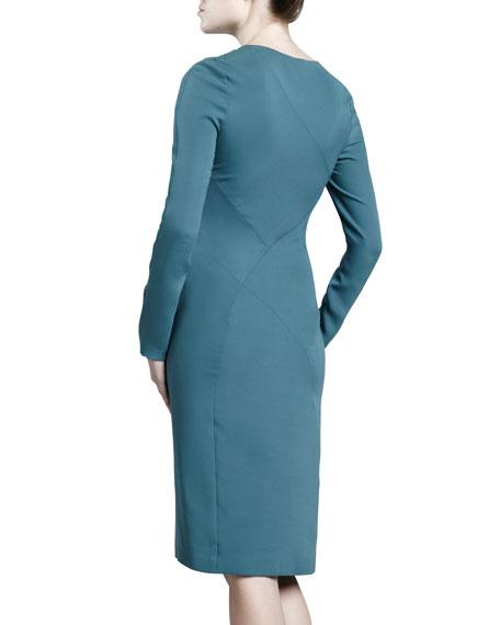 Asymmetric Crepe Dress, Dark Teal