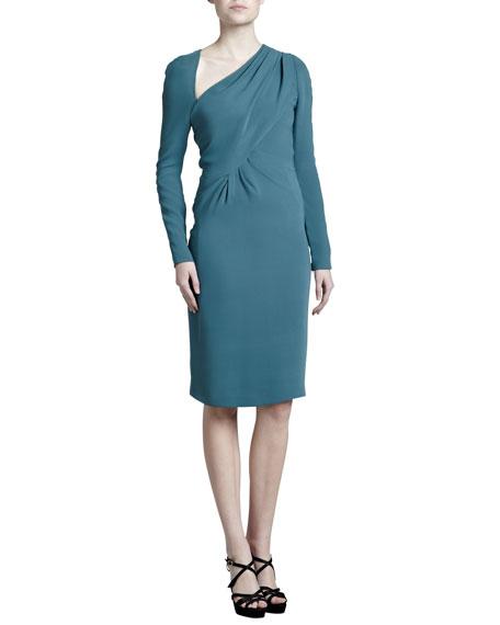 J. Mendel Asymmetric Crepe Dress, Dark Teal