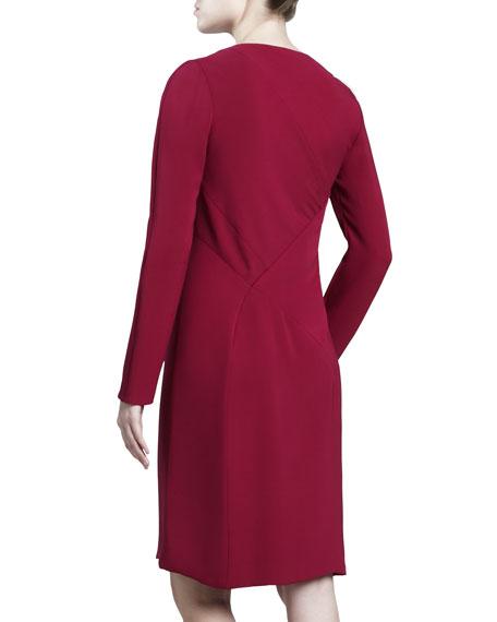 Asymmetric Crepe Dress, Fuchsia