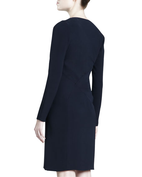 Asymmetric Crepe Dress, Navy