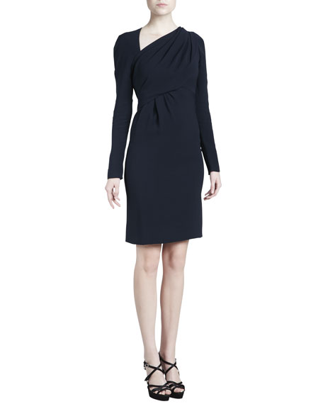 J. Mendel Asymmetric Crepe Dress, Navy
