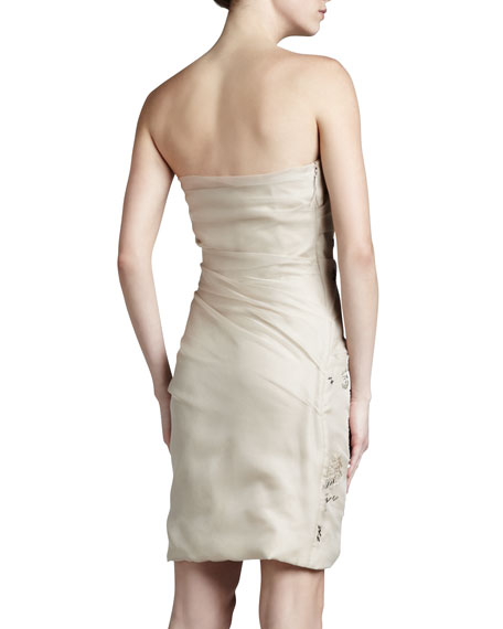 Embroidered Strapless Organza Dress