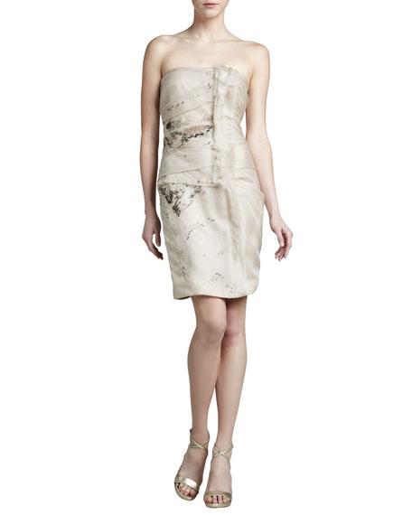 J. Mendel Embroidered Strapless Organza Dress