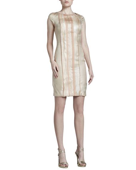 Metallic-Stripe Satin Dress