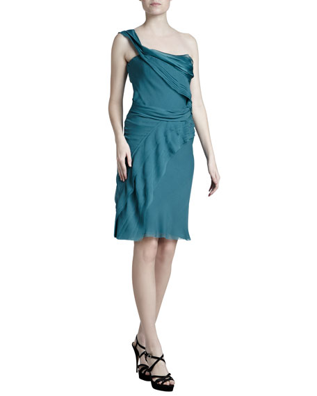 Draped One-Shoulder Dress, Dark Teal