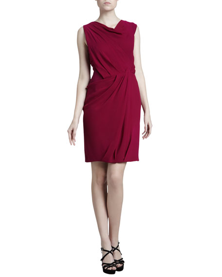 Ruched Georgette Cowl Dress