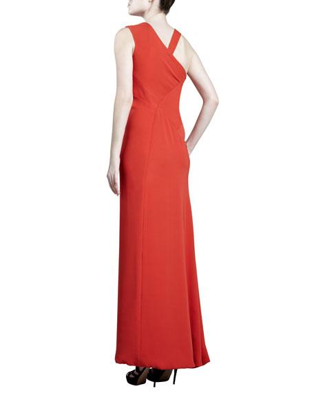 Asymmetric Crepe Gown