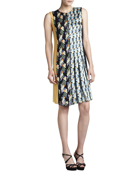 J. Mendel Embroidered Colorblock Satin Dress
