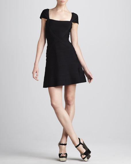 Cap-Sleeve A-Line Bandage Dress, Alabaster