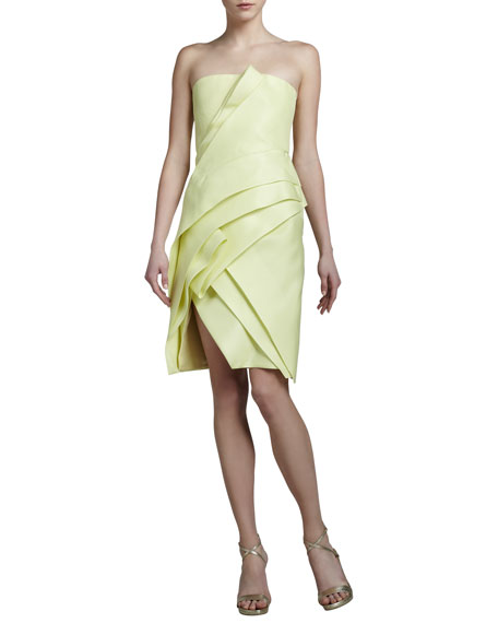 J. Mendel Layered Strapless Gazar Dress