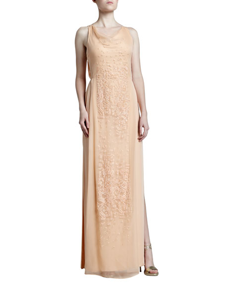 Embroidered Cowl-Neck Georgette Gown, Rosebud