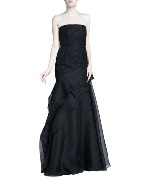 J. Mendel Embroidered Strapless Organza Gown