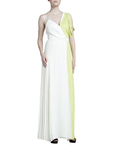 J. Mendel Colorblock Asymmetric Georgette Gown