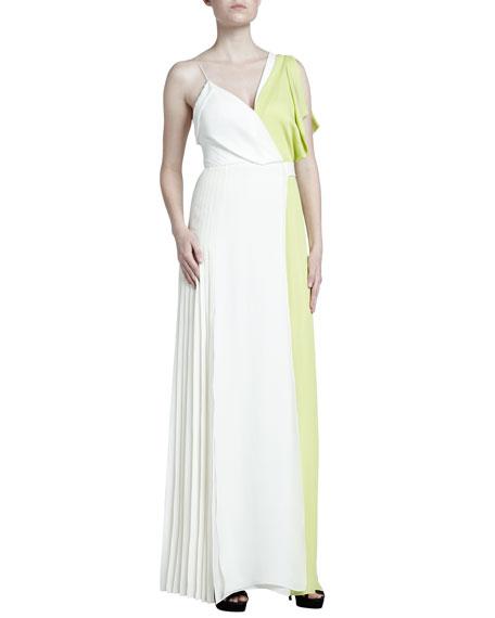 J. Mendel Colorblock Asymmetric Georgette Gown