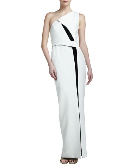 J. Mendel Colorblock Crepe One-Shoulder Gown