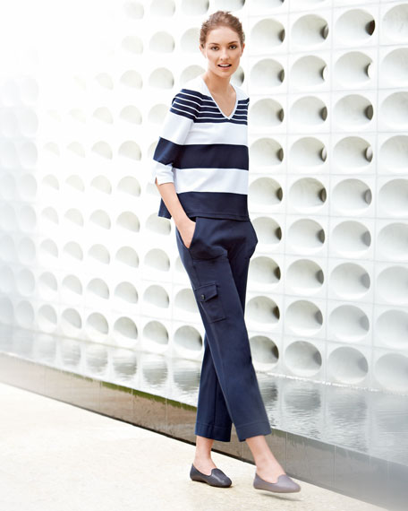 Classic Striped Tee & Cargo Ankle Pants Set, Women's