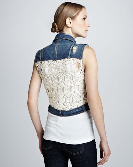 Moody Blue Denim & Macrame Cargo Vest