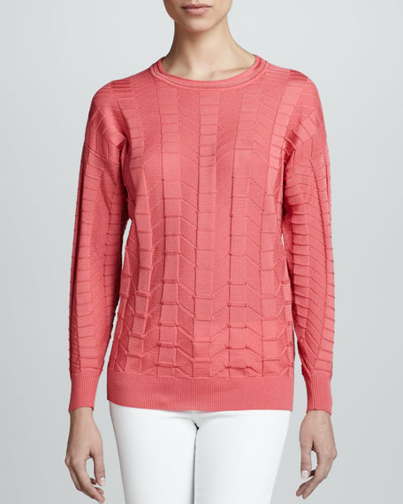 Solid Long-Sleeve Chevron Top